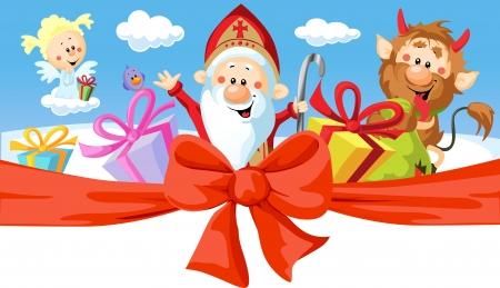 sinner: Saint Nicholas, devil and angel - vector illustration isolated on white background. Horizontal design
