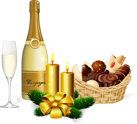 cream filled: Christmas cookie, champagne and candle isolated on white background Illustration