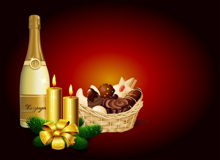 christmas cookie: Christmas still life - Christmas cookie, champagne and candle on dark background - vector illustration