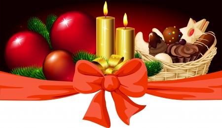 christmas cookie: Christmas horizontal design with candle, xmas ball, bow and christmas cookie