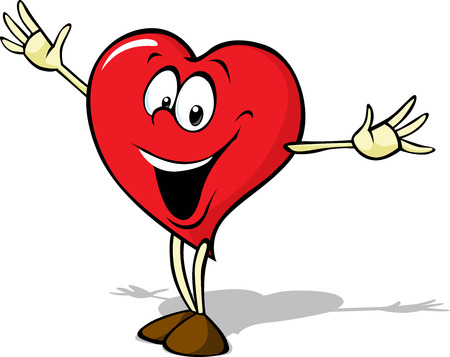 funny heart cartoon standing with open arms isolated on white