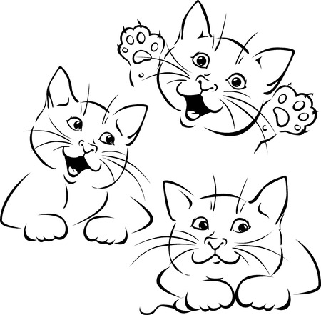 line drawings: cat playing - black outline illustration on white