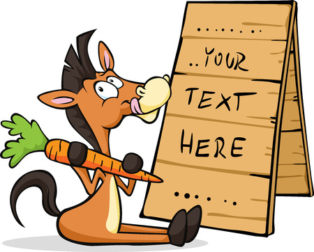 wooden horse: horse sitting at the table with a sign holding carrots isolated on white