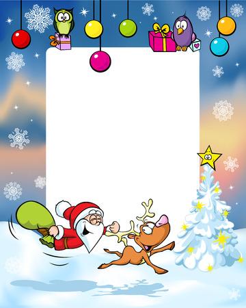 christmas frame with funny santa claus reindeer, xmas ball and gift