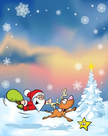 running reindeer: christmas with funny santa claus reindeer, xmas tree and evening sky
