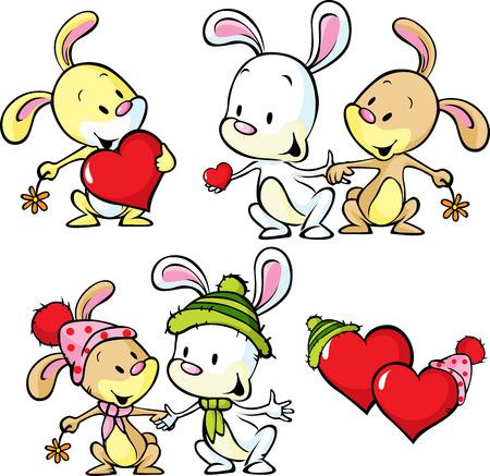 cartoon bunny: cute bunnies isolated on white - vector illustration