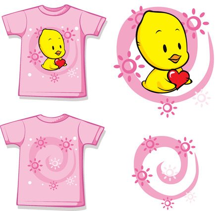 kid shirt with cute chick printed - isolated on white, back and front view Illustration