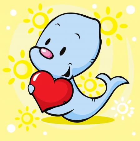 cute seal holding heart - cartoon illustration Vector