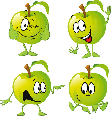 fruit cartoon: green apple cartoon with hand isolated on white background