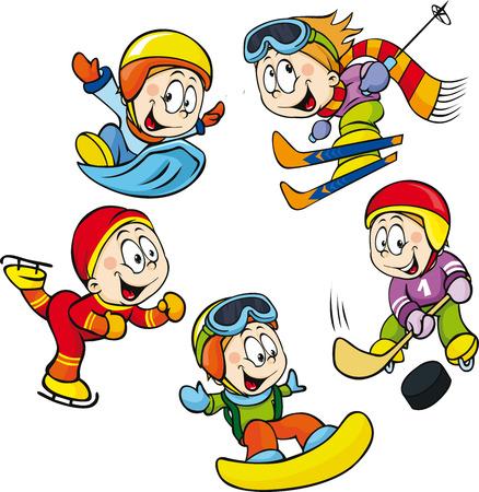 冬スポーツ - ホッケー選手、スケーターの少年、白い背景で隔離のスキーヤー ベクトル