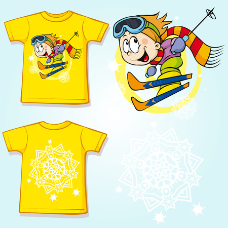 ski wear: kid shirt with skier printed - back and front view Illustration