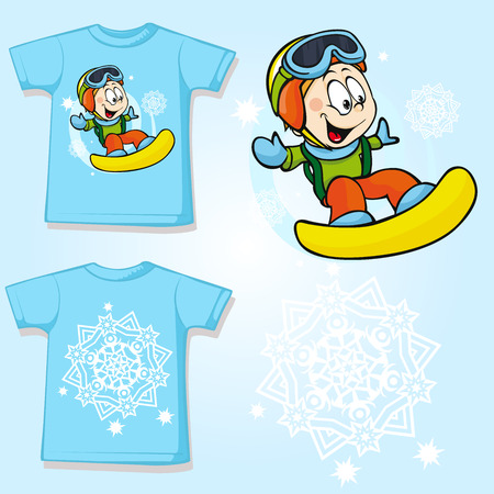 kid shirt with snowboarder printed - back and front view Vector