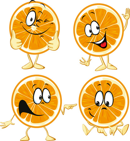 funny orange cartoon wit hands and legs isolated on white background