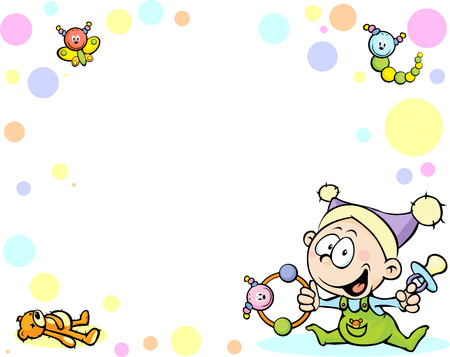cool baby background with funny baby, toys and abstract dots Vector