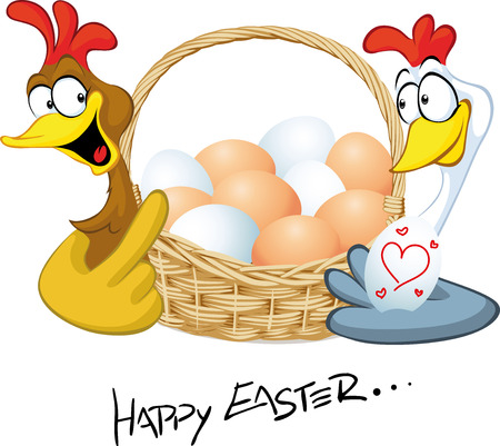 hen: happy easter - hen in love hold basket with eggs - cartoon illustration