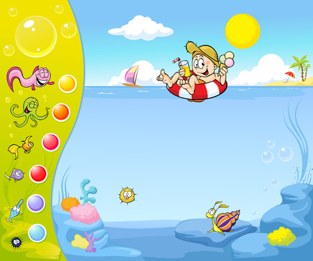 seacoast: Summer holiday website design with funny background Illustration