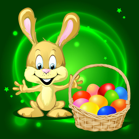 hand basket: Easter bunny with a basket full of colorful eggs on green background
