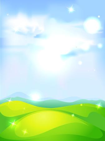 lightening: vector de fondo natural con el cielo azul prado verde y brillante sol resumen Vectores