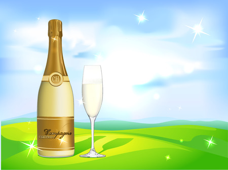 liquid crystal: glass of champagne and bottle on natural background - vector illustration
