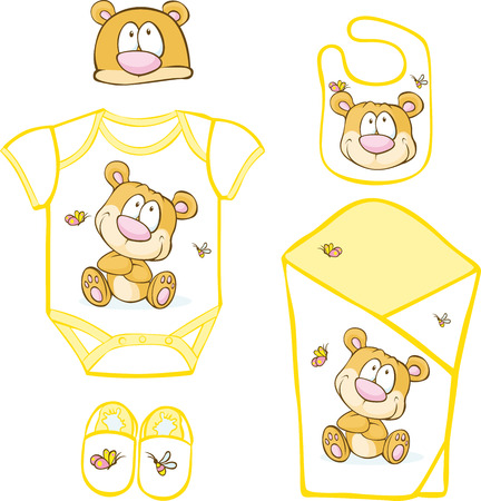 bib: Cute Baby Layette with bear and butterfly - vector illustration Illustration
