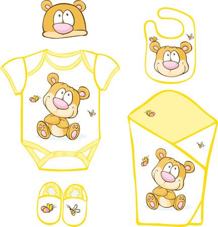 babero: Linda canastilla de bebé con el oso y mariposa - ilustración vectorial