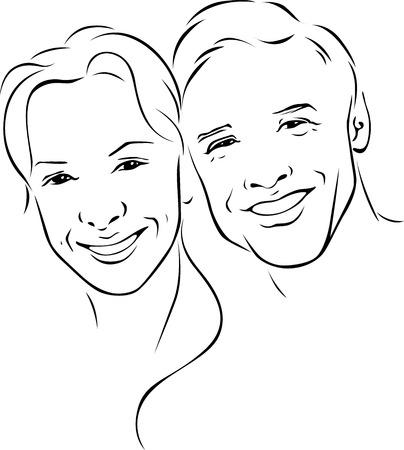 bocetos de personas: hombre y mujer - pareja joven - ilustración contorno negro Vectores