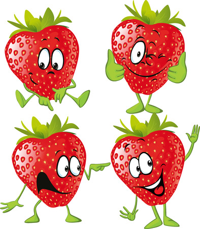 ojos verdes: dibujos animados de la fresa con las manos aisladas en fondo blanco