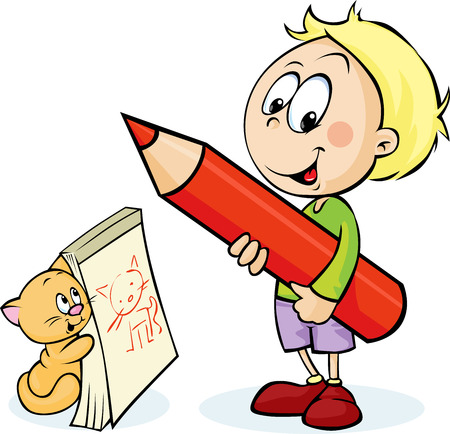 colour pencil: boy with red pencil drawing cat - vector illustration