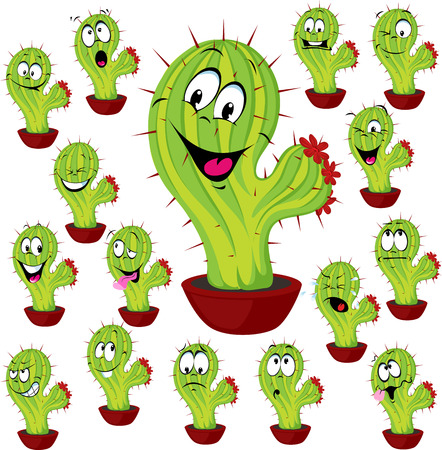 holiday display: cactus plant vector illustration with many facial expression