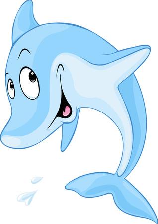 dauphin: Bande dessinée mignonne de dauphin - illustration vectorielle
