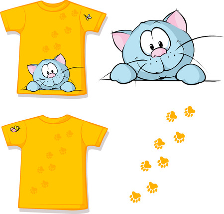 kid shirt with cute cat peeking printed - isolated on white, back and front view
