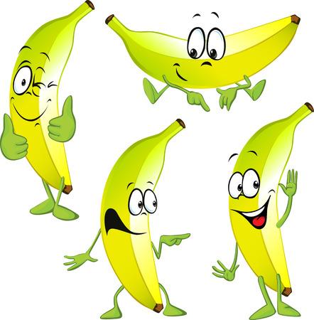 platano caricatura: dibujos animados plátano aislados sobre fondo blanco
