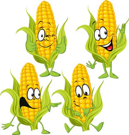 sweet corn cartoon with hands Illustration