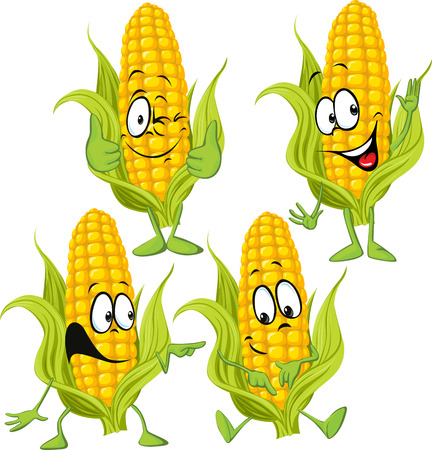 cartoon food: sweet corn cartoon with hands Illustration