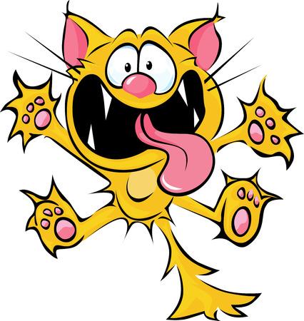 미친 고양이 만화 - 침 및 긁힘 일러스트