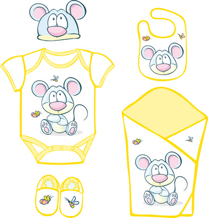 bib: Cute Baby Layette with mouse and butterfly