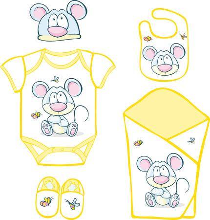 babero: Lindo Canastilla Bebé con el ratón y la mariposa