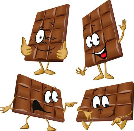 手ジェスチャーとチョコレートの漫画  イラスト・ベクター素材