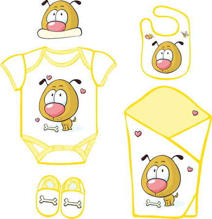 Cute Baby Layette with puppy and butterfly illustration Vector