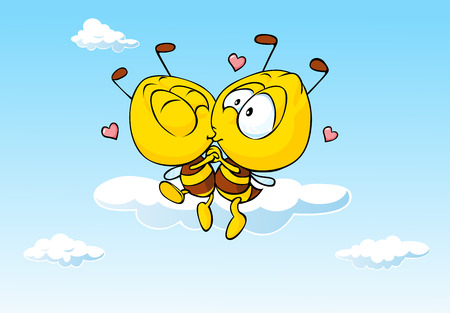 bee in love kissing cute illustration 向量圖像