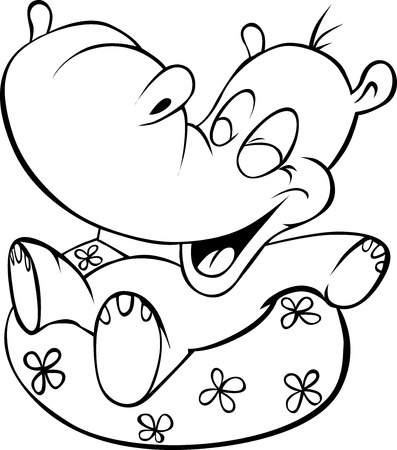 hippo cartoon: funny hippo illustration - black outline