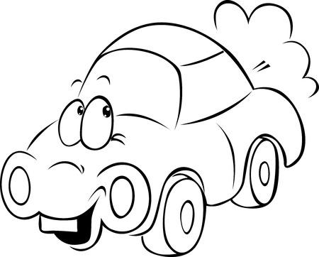 car outline: funny car cartoon - black outline