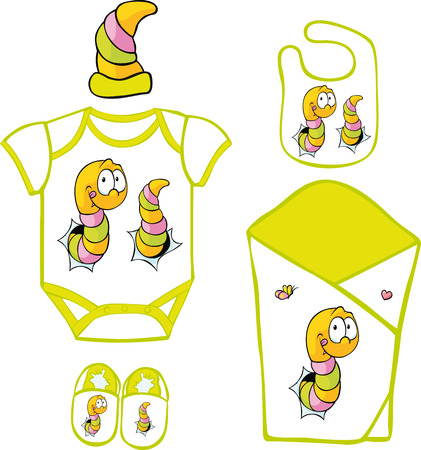 Cute Baby Layette with cute caterpillar and butterfly Vector