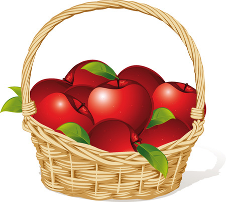 red apples in a basket isolated on white background