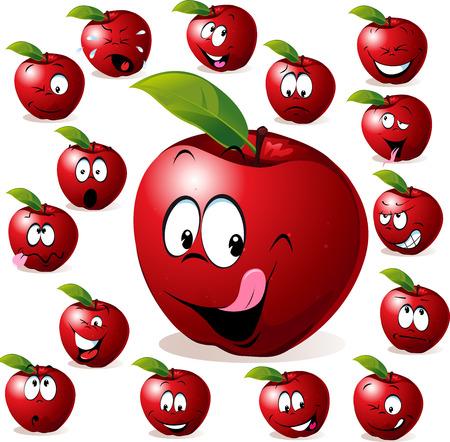 aliments droles: pomme rouge avec de nombreuses expressions