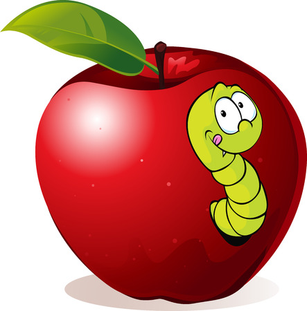 fruit worm: illustration of Cartoon Worm In Red Apple