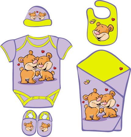 universal love: Linda canastilla de bebé con el oso lindo en la ilustración del amor Vectores