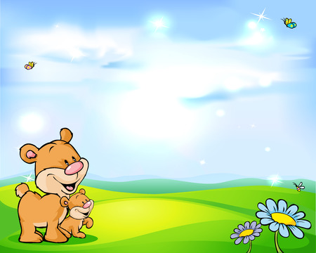 natural background with sky, green meadow flower and bear Vector
