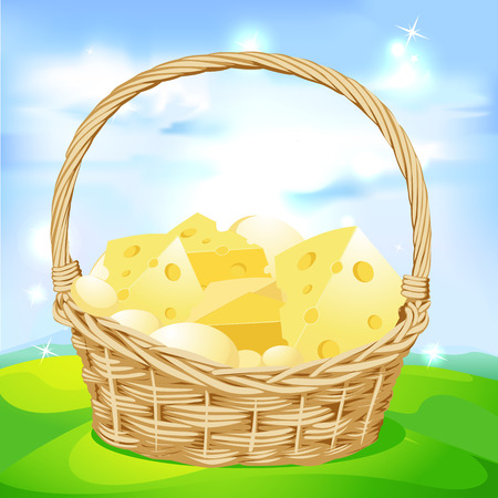 milk cheese: vector basket with cheese on green meadow