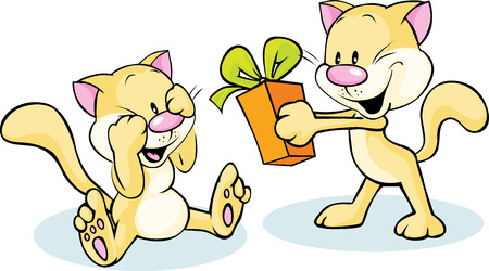 cute cat giving gift - funny illustration on white background Vector